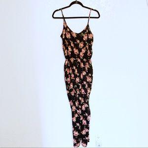forever 21/ pink & black floral jumpsuit